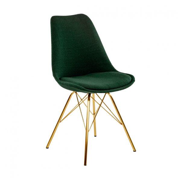 Kick Jens Bucket Chair Dark Green - Gold Frame
