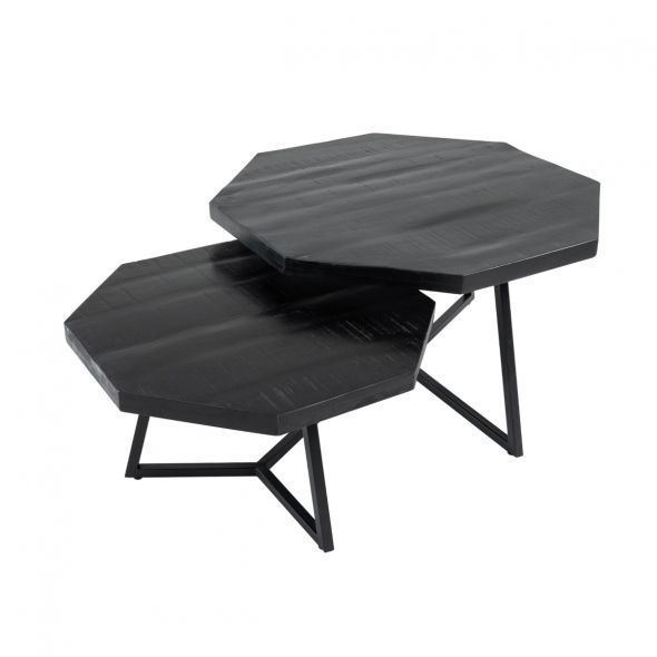 KICK HEXAGON Coffee Table Set - Black