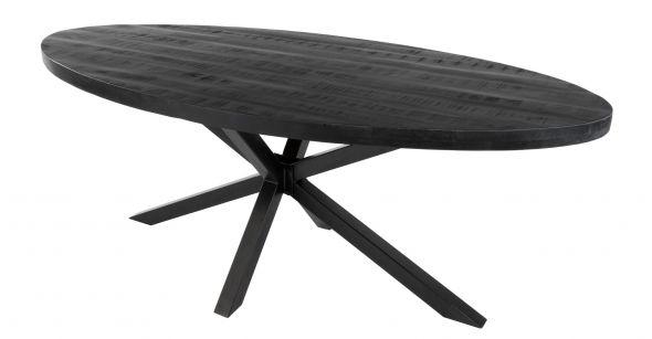 KICK LUKE Industrial Oval Dining Table - Black 210 cm
